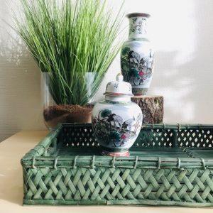 vintage dienblad rotan groen