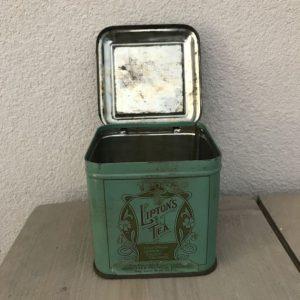 vintage blikje lipton blauw groen klep