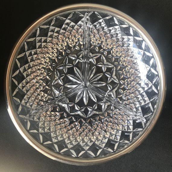 Vintage bonbonnière kristal met vergulde rand