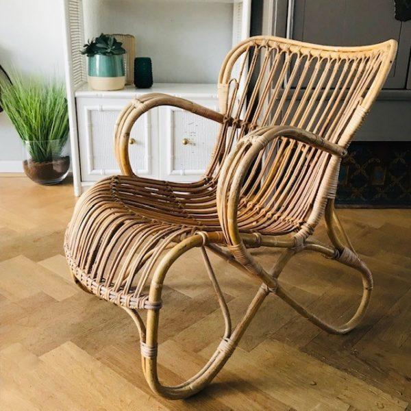 Verrassend Vintage rotan fauteuil Rohé Noordwolde RB 2 midcentury jaren 50 XP-11