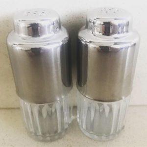 vintage peper en zoutstel zilver metaal jaren 50