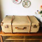vintage brocante koffer beige hout