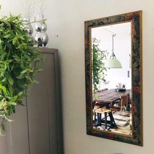 vintage boho spiegel goud groene blaadjes