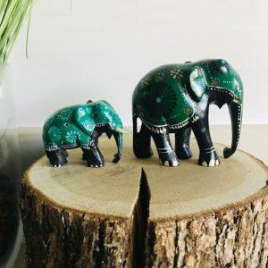 handgeschilderde olifanten hout Sri Lanka