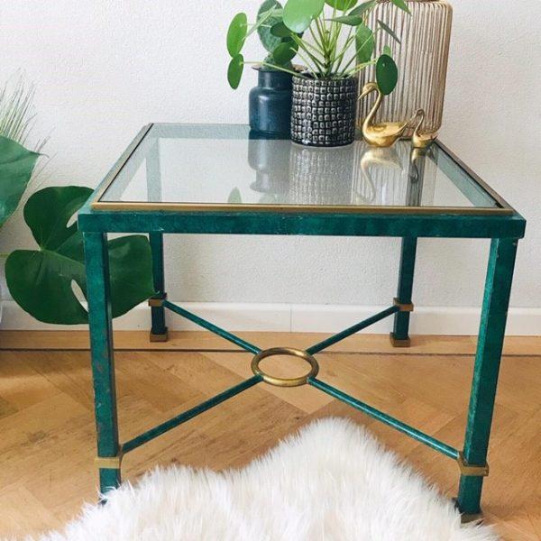 Salontafel Glas Met Brons.Vintage Messing Glazen Tafel Glas Hollywood Regency Groen En Goud