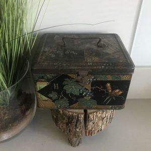 vintage oosters blik waaier blaadjes en vogels