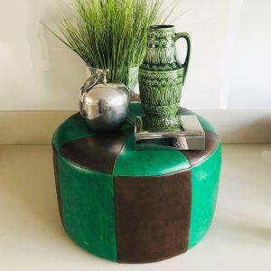 seventies poef jaren 70 groen bruin