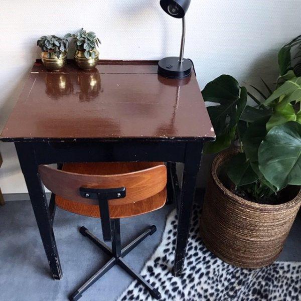 retro bureau met klep schoolstoel voor volwassene