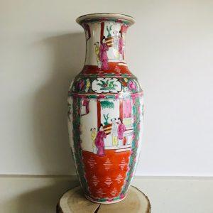 vintage chinese vaas tafereel geisha