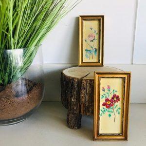 vintage mini schilderijtjes bloem