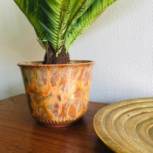 vintage bloempot marmer effect oranje aardetinten