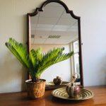 vintage oosterse spiegel koloniaal teak hout