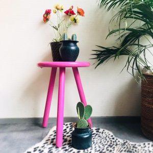 roze krukje plantentafeltje massief hout vintage