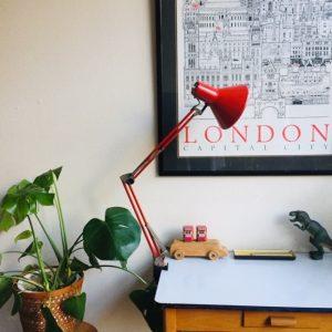 vintage retro schaarlamp industrieel rood