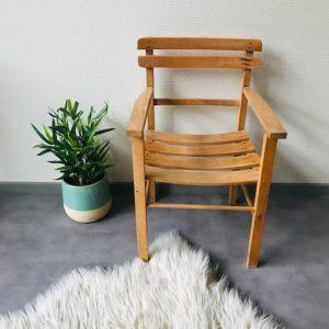 vintage retro houten stoeltje blank hout