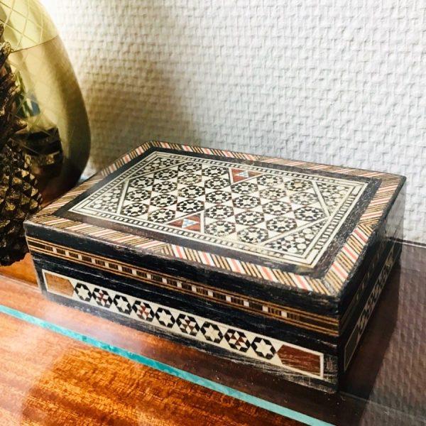 ingelegd doosje hout parelmoer vintage