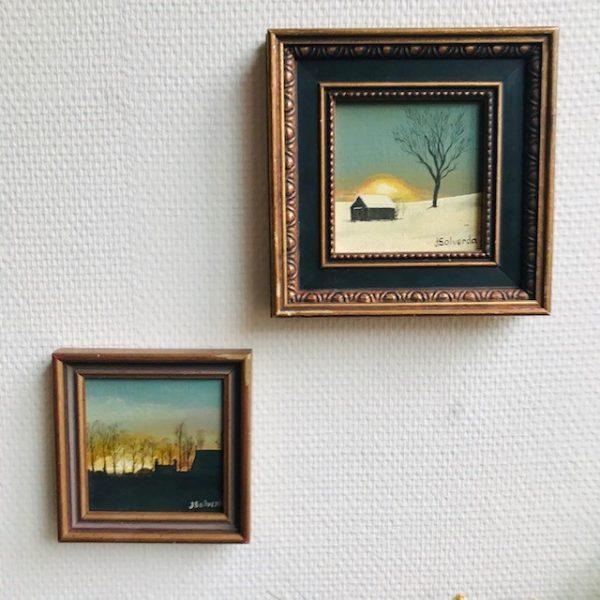 vintage schilderijtjes zonsondergang olieverf