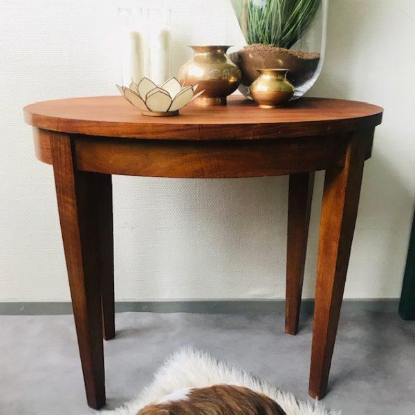 teak houten tafeltje ovaal vintage