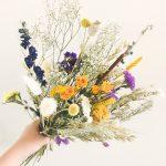 droogbloemen boeket Lente geel blauw