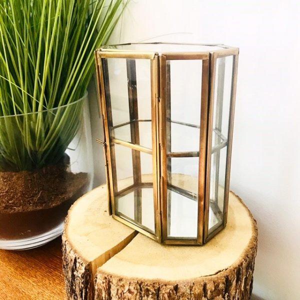 glazen vitrinekastje messing glas