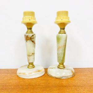 Set marmeren lampenvoetjes nachtkastje