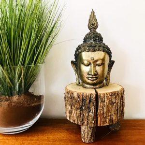 Vintage boeddha hoofd metaal