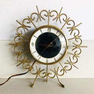 vintage zonneklok tafelklok goud gouden