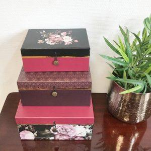 Opbergdozen set bloemenprint PT