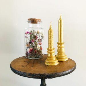 Gouden kaarsen set kandelaar