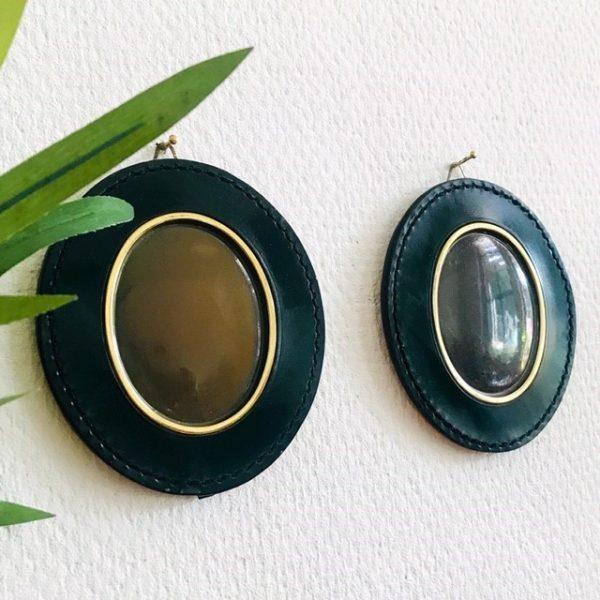 fotolijstjes leder groen vintage