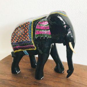 Vintage houten olifant zwart lak