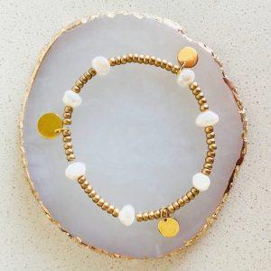 Zoetwater parel armbandje RVS goud