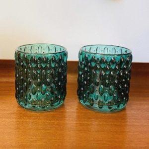 glazen waxinelichthouders turquoise