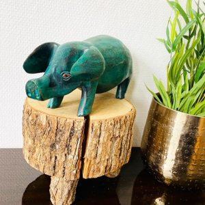 vintage varken hout turquoise