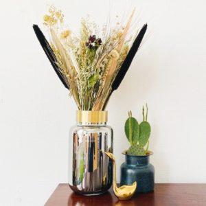 Gouden droogbloemen boeket Gold inclusief vaas